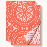 Boll & Branch Medallion Beach Towel Set - Coral/White